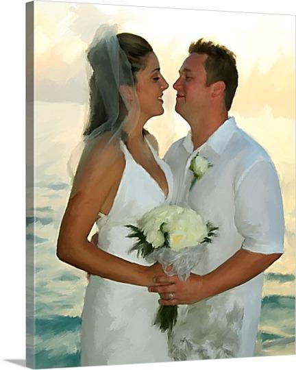 Seaside Wedding Pop Art Canvas From Photo