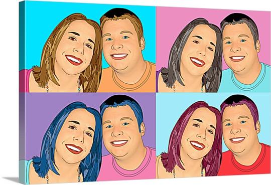 Happy Friends on Pop Art Canvas