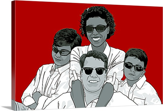 Family in Sunglassses on Pop Art from Picture