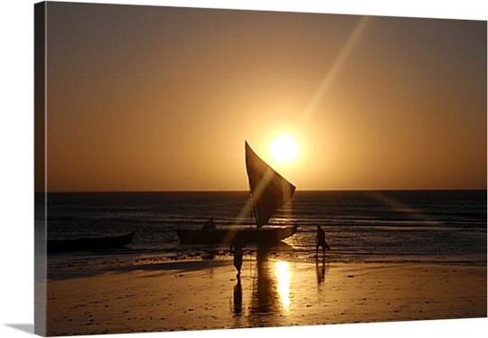Print of Sailboat at Sunset on Canvas