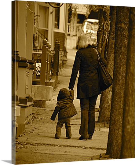 Canvas of Mom and Child Walking Down Sidewalk Photo