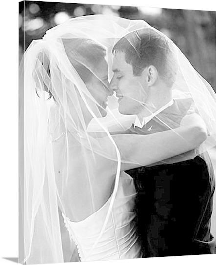 Veiled Wedding Photo to Canvas