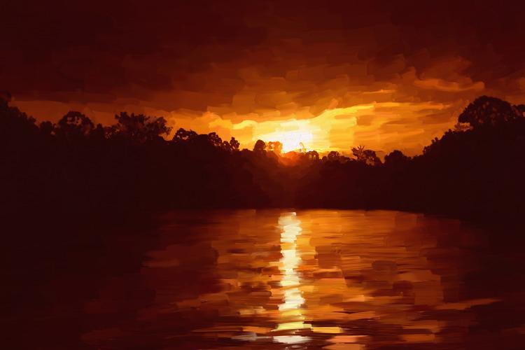 Sonnenuntergang als Leinwanddruck