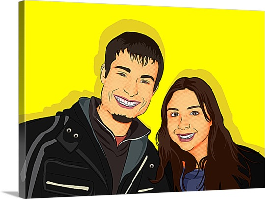 Two Smiling Friends on Canvas Pop Art