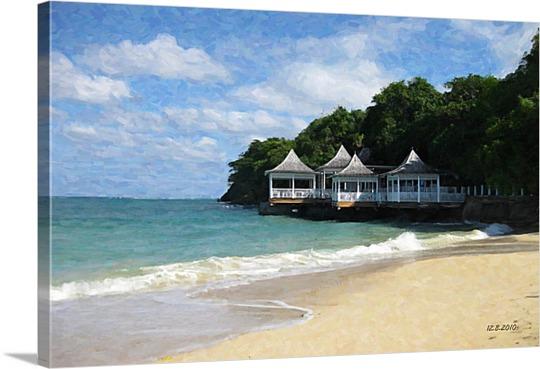 Canvas of Beachside Home on Pop Art