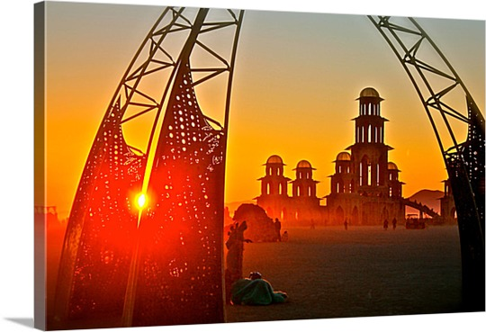 Canvas Print of Buildings at Sunset