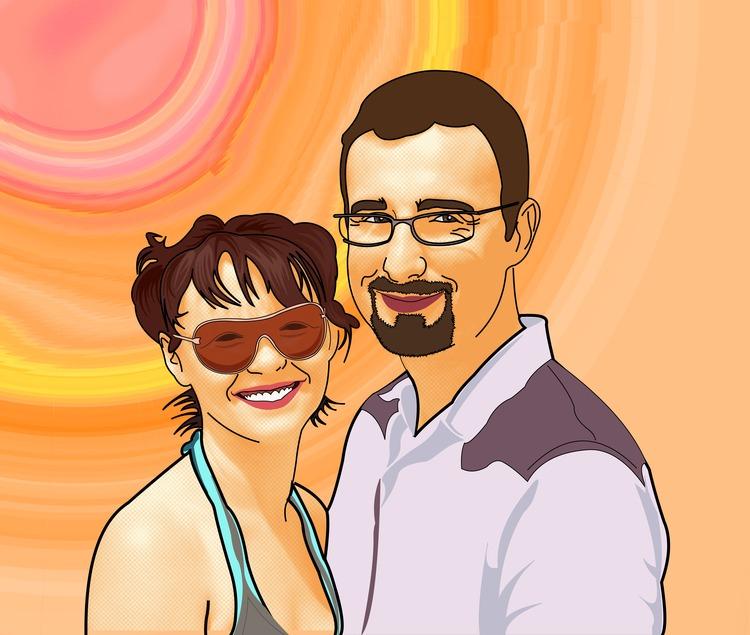 Tableau lichtenstein de couple
