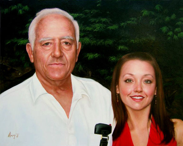 oil painting of father and daughter