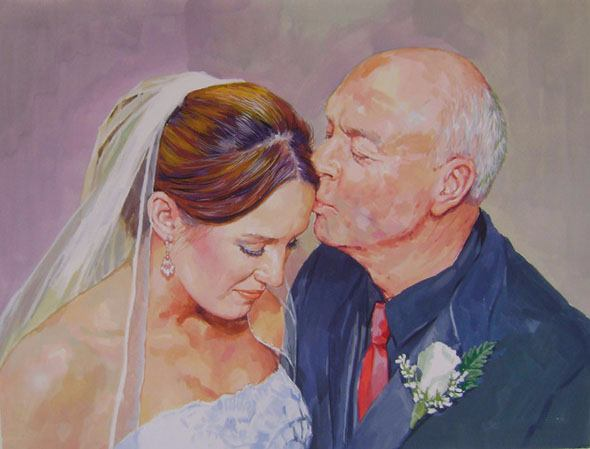 pastel portrait of a father kissing the bride