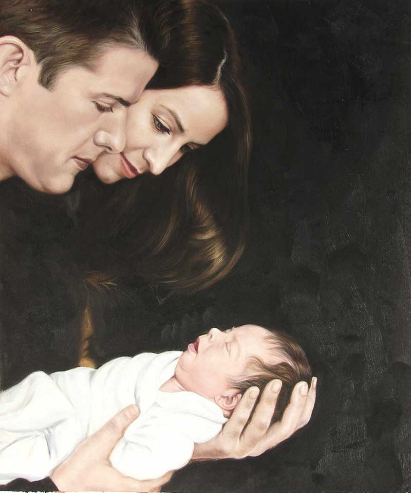 oil portrait from a photo of 2 parents looking at their baby