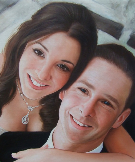 oil painting from photo of a couple