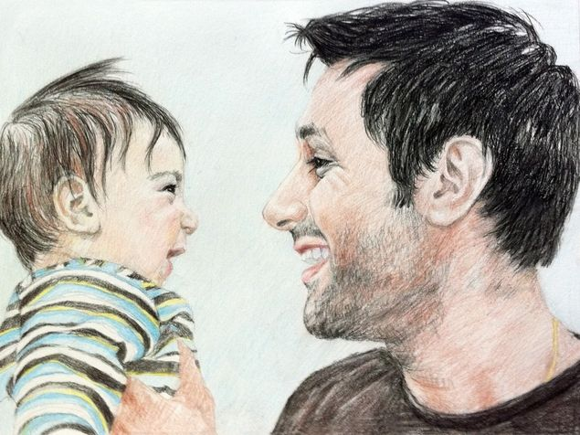 color pencil portrait of father and son