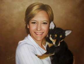 Handmade oil painting a woman holidng little chihuahua