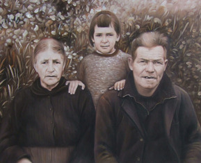vintage style oil family painting near field