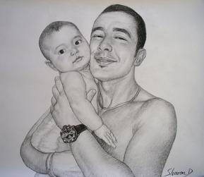 padre e bambino come disegno a carboncino