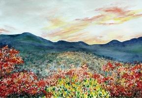 custom watercolor painting of a flower field