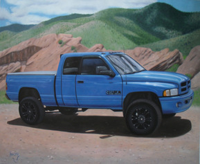 Custom oil handmade painting of blue semitruck