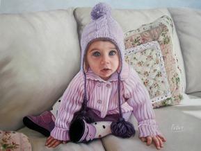 foto di un bambino dipinto in olio