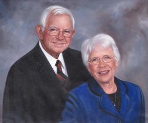 custom oil portrait of elder white couple