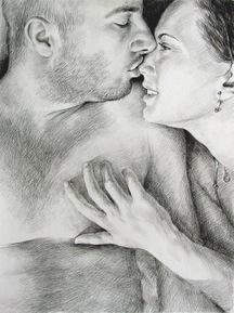 peinture couple d'amoureux