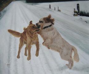 twee honden als olieverfschilderij