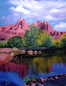 colorful landscape painting in oil