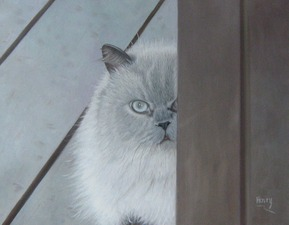 Oil painting of grey cat with white eyes