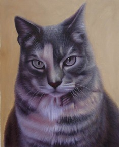 close up oil painting of three colored cat