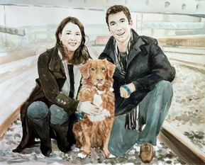 custom watercolor painting of Asian couple with brown dog