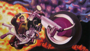 custom oil portrait of man on motorcycle