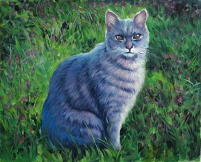 custom acrylic painting of grey cat outdoors
