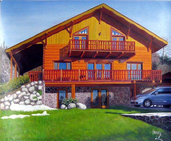 Custom oil handmade painting wooden house on sunset