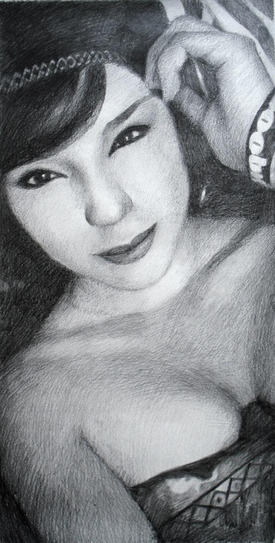 custom pencil drawing of an Asian woman