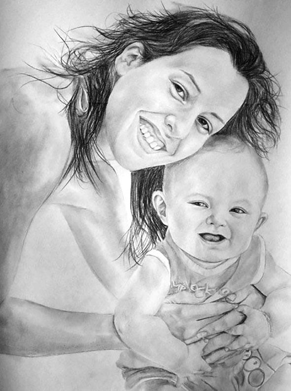 des photos de famille de dessin au crayon