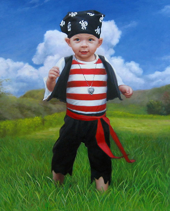 carnival dress up little boy as pirate