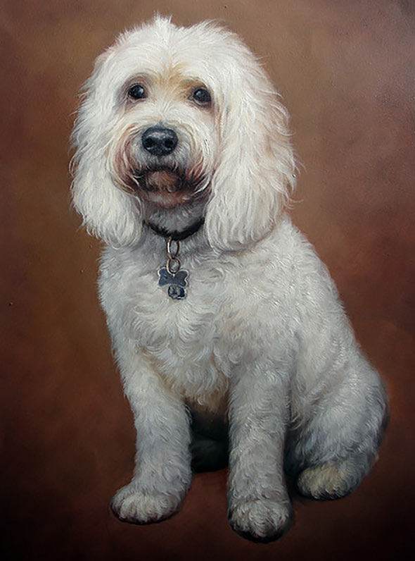 custom oil painting pet white labradoodle dog
