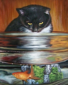 custom pet painting of cat looking at goldfish