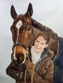 pittura ad acquerello di un cavallo e proprietario