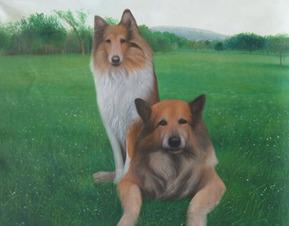 dos perros como la pintura al óleo