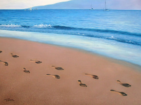 handmade painting of a beach