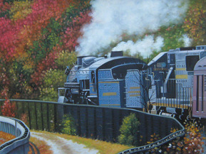 customized painting of a train in oil