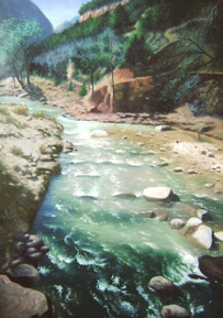 custom river painting on canvas