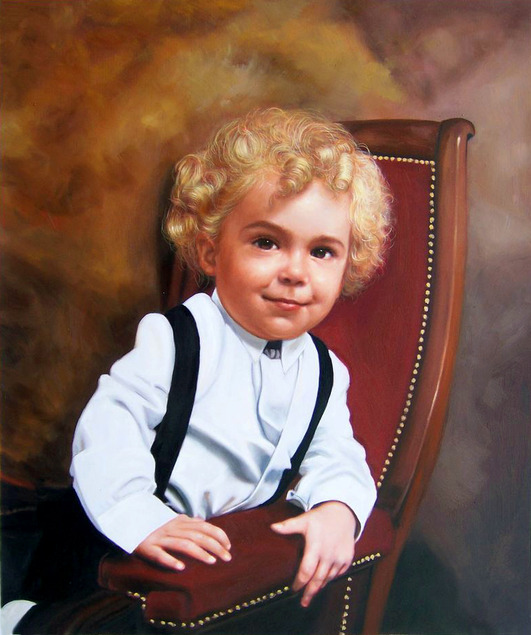 an oil painting of a little boy in the char