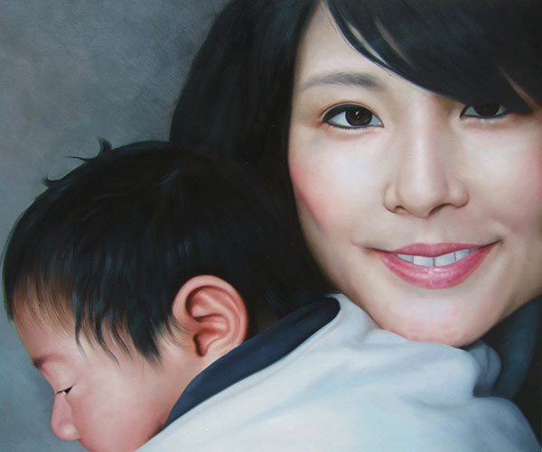 oil painting from photo of mother and child