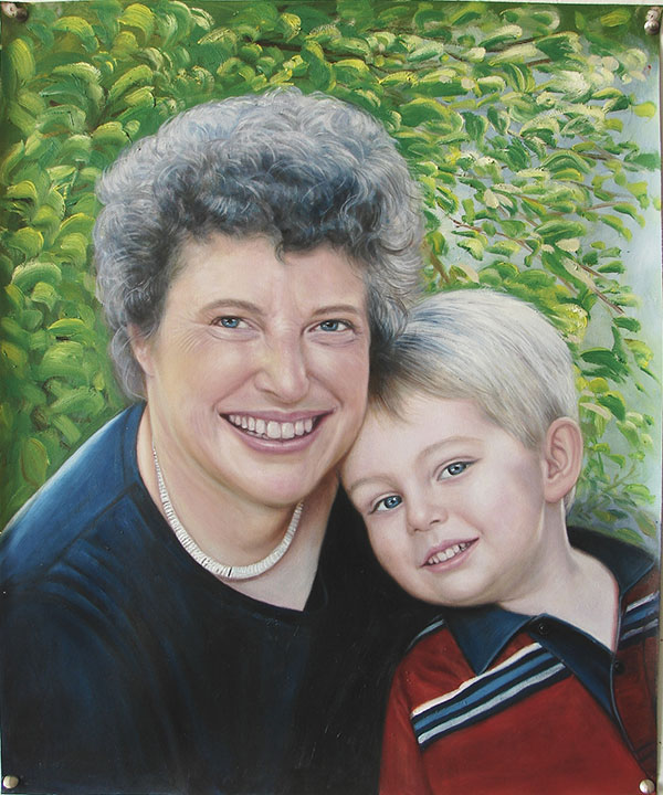 an oil painting of grandmother and her grandkid