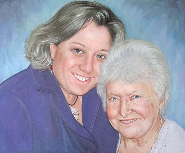 a custom painting of mother and daughter