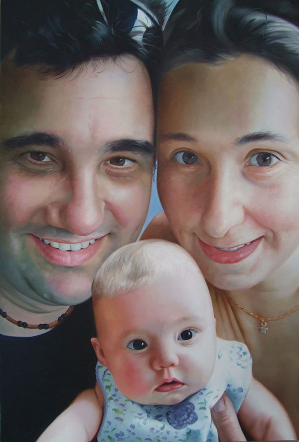 a custom oil portrait of a parents and their newborn