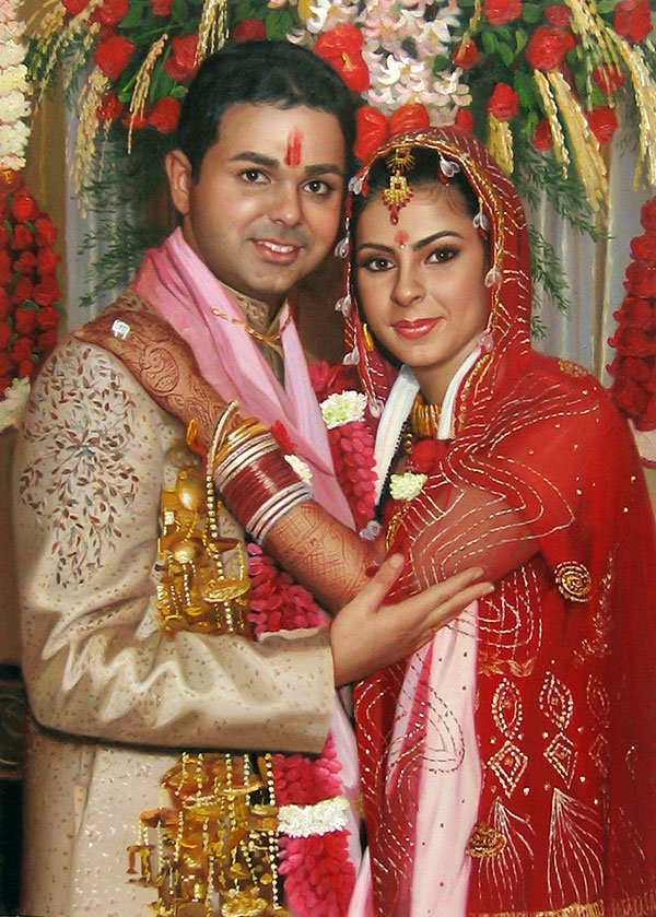an indian wedding couple oil painting
