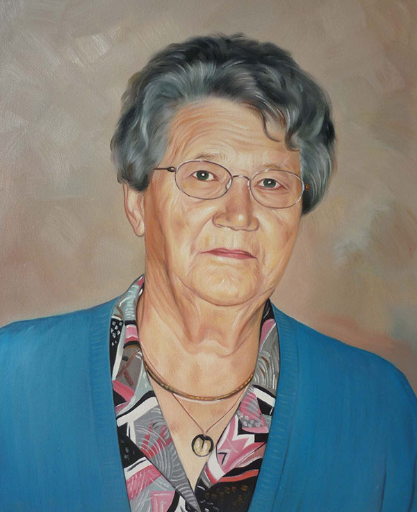 an oil painting of an elderly lady with glasses