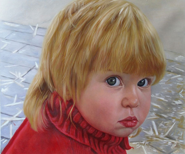 a custom oil painting of a child with blue eyes blonde hair